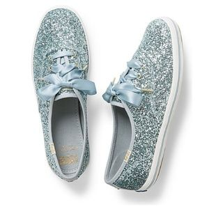 Kate Spade Keds Glitter Sneakers - Light Blue 7.5